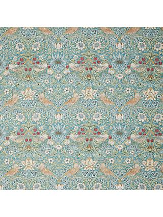 Morris & Co. Strawberry Thief Print Fabric, Aqua