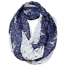 Buy Fat Face Hummingbird Motif Snood, Off White/Navy Online at johnlewis.com