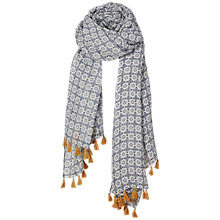 Buy Fat Face Daisy Print Tassel Scarf, Multi Online at johnlewis.com
