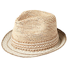 Buy Fat Face Lace Brim Trilby Straw Hat, Natural Online at johnlewis.com