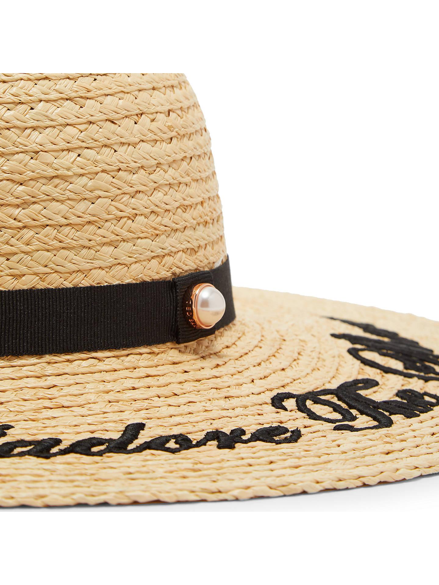 758255483 Ted Baker Albizia Script Embroidered Sun Hat, Neutral