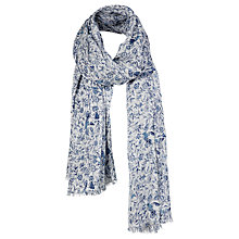 Buy Fat Face Summer Garden Sequin Floral and Bird Scarf, White/Blue Online at johnlewis.com