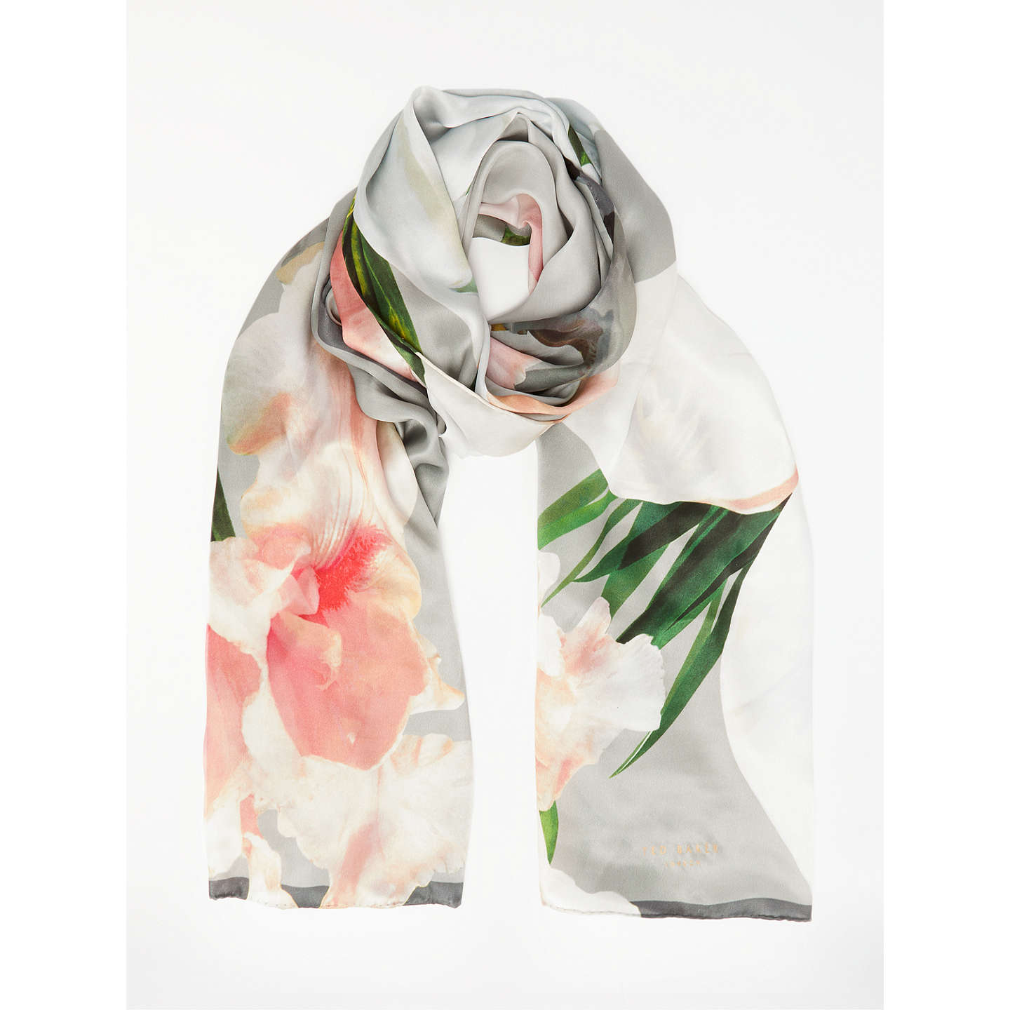 Ted Baker Caniaa Chatsworth Bloom Long Silk Scarf, Mid Grey by Ted Baker