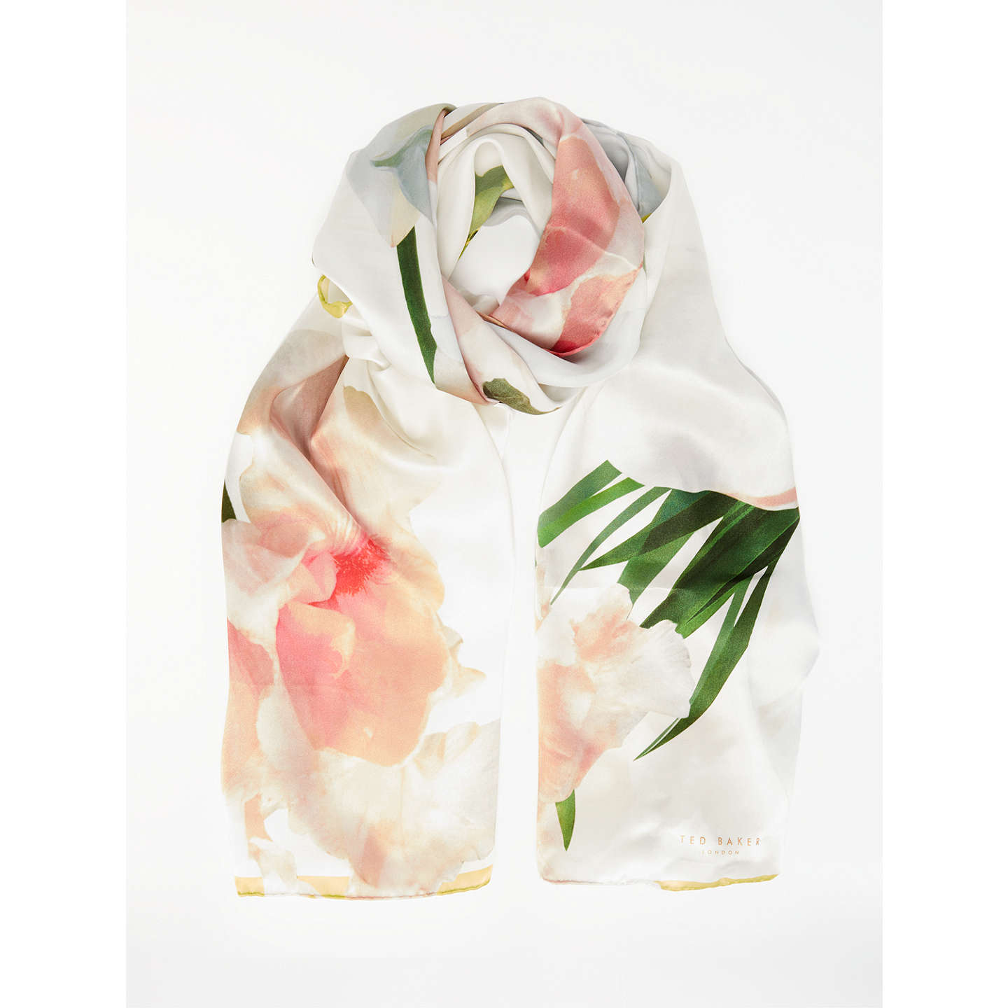 Ted Baker Caniaa Chatsworth Bloom Long Silk Scarf, White Mix, White Mix by Ted Baker