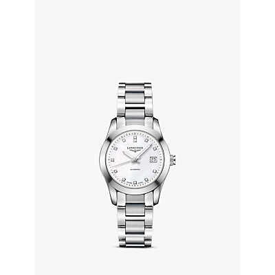 Longines L22854876 Women's Conquest Classic Diamond Automatic Date Bracelet Strap Watch, Silver/Mother Of Pearl