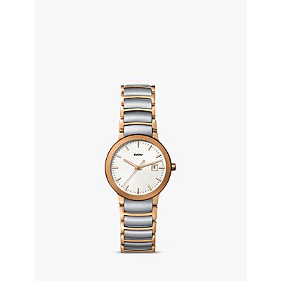 Rado R30555103 Women's Centrix Date Two Tone Bracelet Strap Watch, Silver/Rose Gold