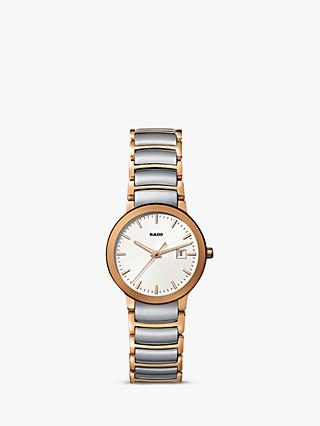 Rado R30555103 Women's Centrix Date Two Tone Bracelet Strap Watch, Silver/Rose Gold