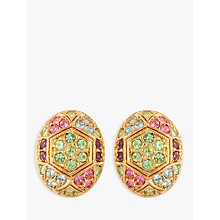 Buy Susan Caplan Vintage D'Orlan 22ct Gold Plated Swarovski Crystal Oval Clip-On Earrings, Gold/Multi Online at johnlewis.com