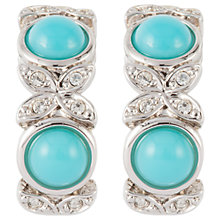 Buy Susan Caplan Vintage D'Orlan Silver Plated Faux Turquoise and Swarovski Crystal Hoop Clip-On Earrings, Silver/Blue Online at johnlewis.com