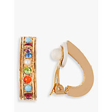 Buy Susan Caplan Vintage D'Orlan 22ct Gold Plated Faux Pearl and Swarovski Crystal Demi Hoop Clip-On Earrings, Gold/Multi Online at johnlewis.com