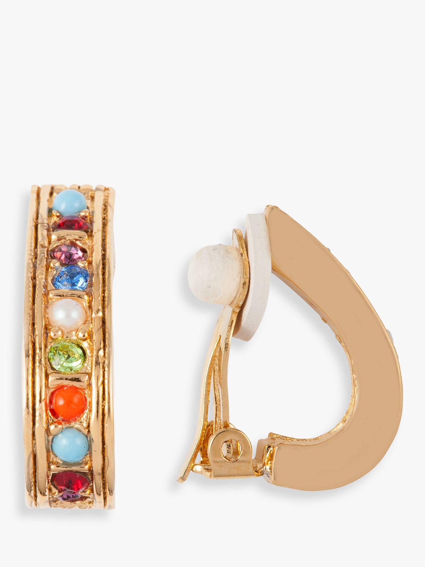 Susan Caplan Vintage D Orlan 22ct Gold Plated Faux Pearl And Swarovski Crystal Demi Hoop