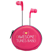 Buy Happy Jackson Awesome Tunes Earphones with Carry Case, Pink Online at johnlewis.com