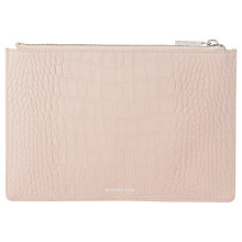 Buy Whistles Matte Croc Leather Small Clutch Bag, Nude Online at johnlewis.com