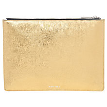 Buy Whistles Metallic Medium Clutch, Gold Online at johnlewis.com