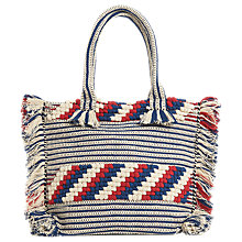 Buy Whistles Manzoni Fringe Tote Bag, Blue/Multi Online at johnlewis.com