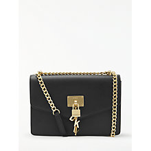 Buy DKNY Elissa Charm Detail Leather Shoulder Bag, Black Online at johnlewis.com
