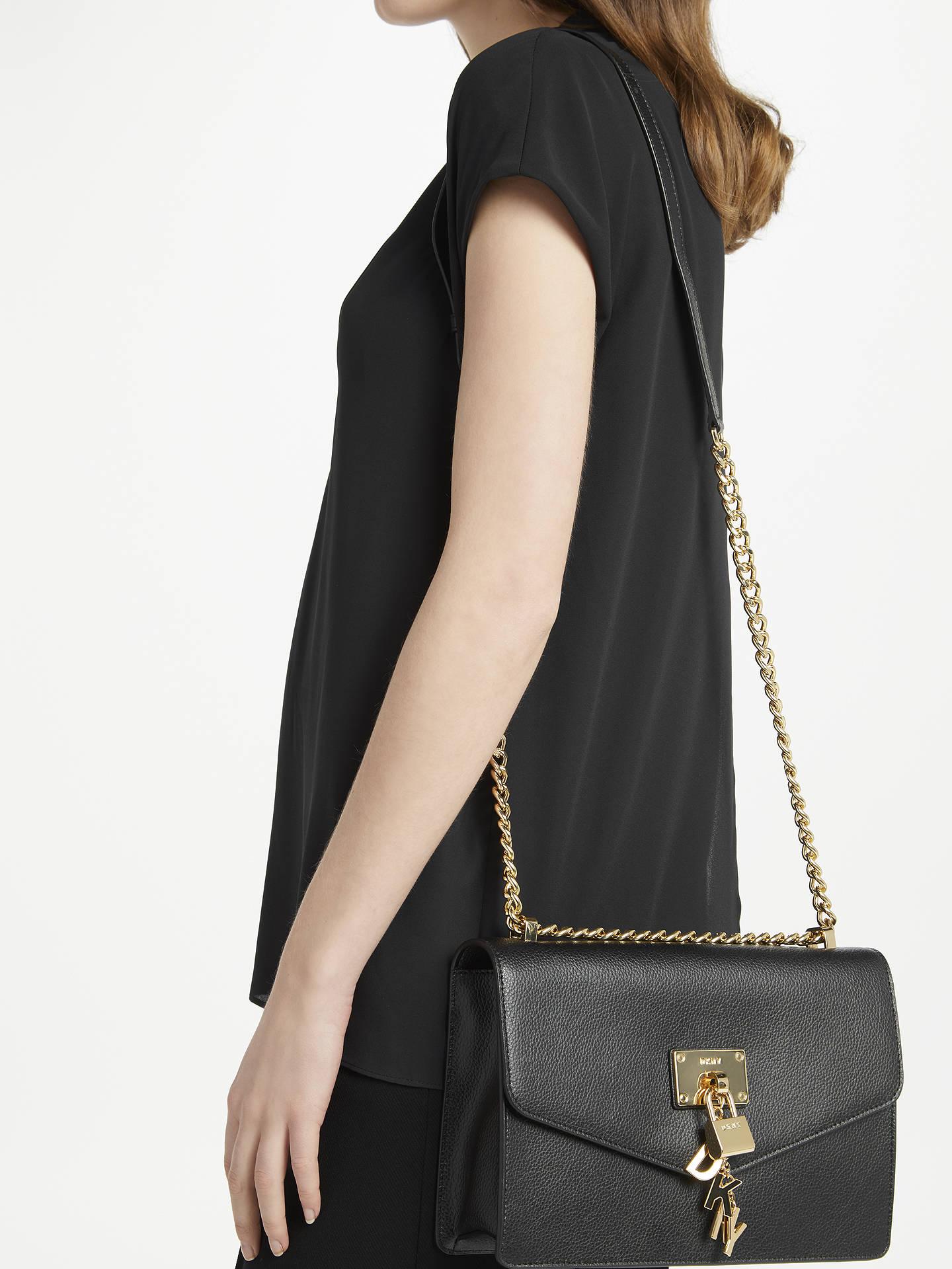 ecc0e6493 ... Buy DKNY Elissa Charm Detail Leather Shoulder Bag, Black Online at  johnlewis.com