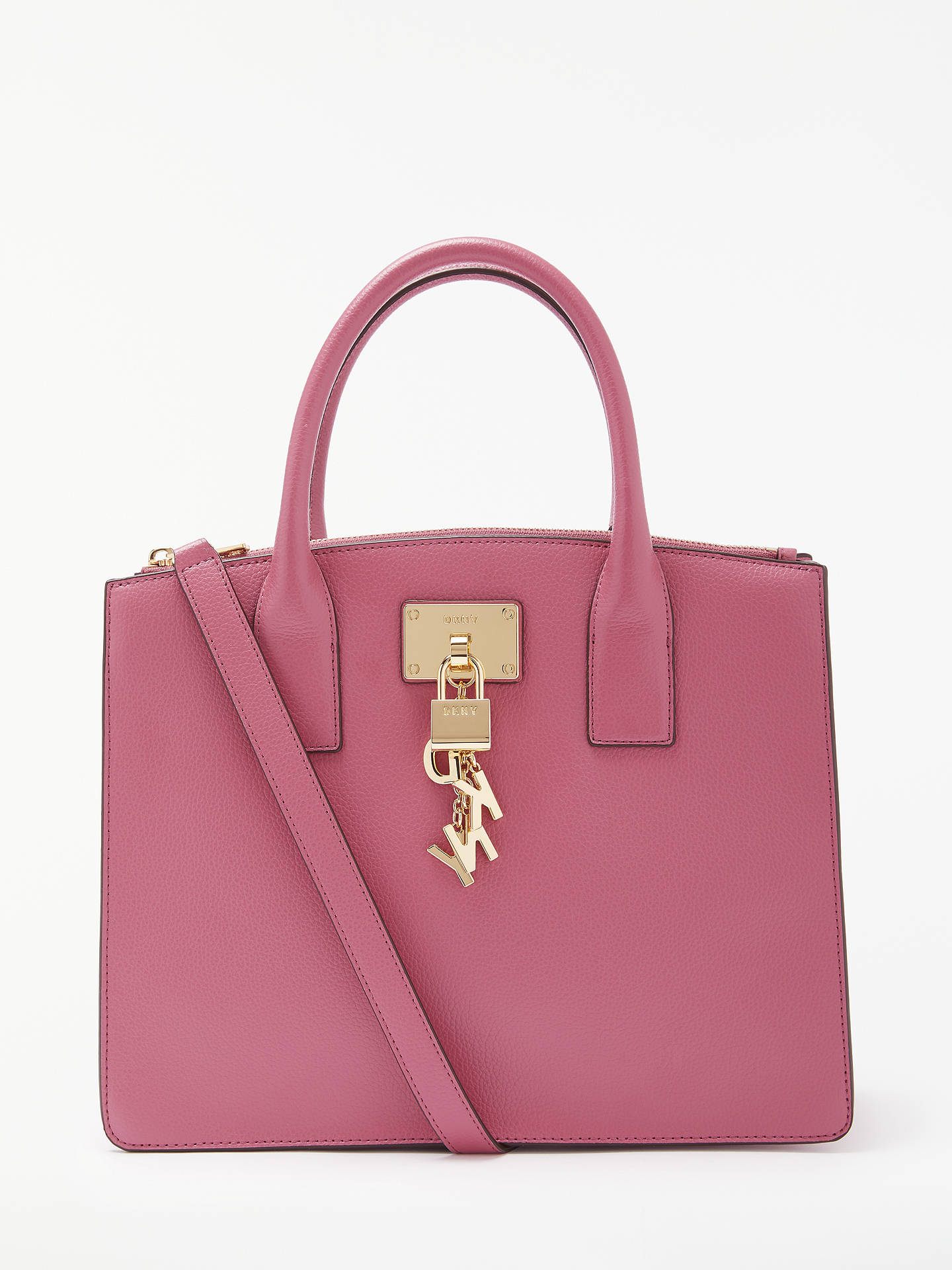 654f24783 Buy DKNY Elissa Charm Detail Leather Tote Bag, Hot Pink Online at  johnlewis.com ...