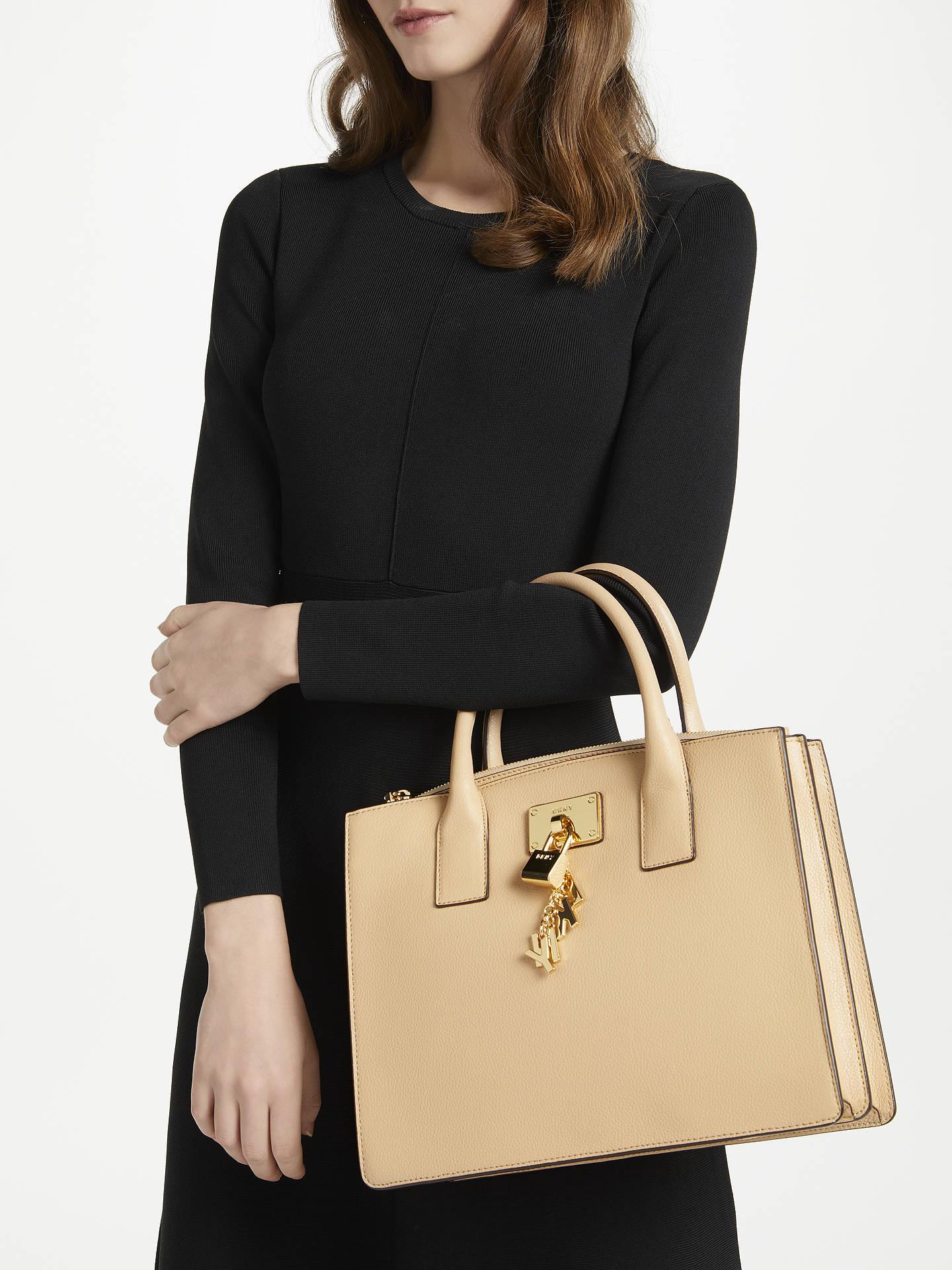 08ff2d4fc ... Buy DKNY Elissa Charm Detail Leather Tote Bag, Eggnog Online at  johnlewis.com
