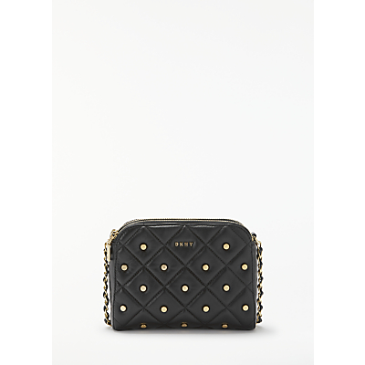 DKNY Barbara Quilted Leather Cross Body Bag, Black