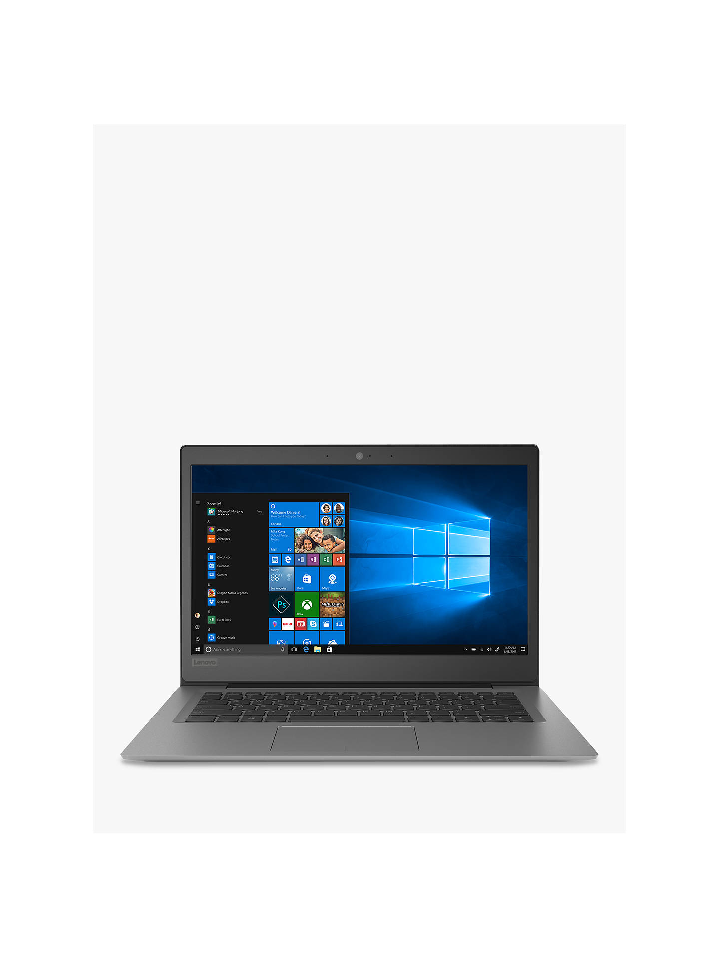 "BuyLenovo IdeaPad 120S 81A500B0UK Laptop, Intel Pentium N4200, 4GB RAM, 128GB M.2 SSD, 14"", Mineral Grey Online at johnlewis.com"