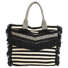 Buy Whistles Niko Stripe Woven Fringe Tote Bag, Black/Multi Online at johnlewis.com