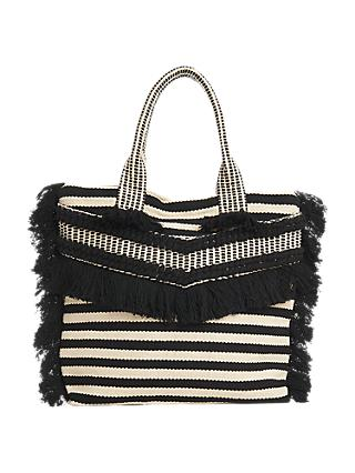 Whistles Niko Stripe Woven Fringe Tote Bag, Black/Multi