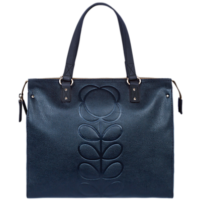 Orla Kiely Embossed Flower Leather Tote Bag, Navy