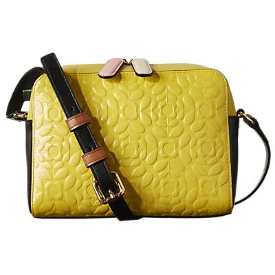 Orla Kiely Flower Stem Abby Leather Cross Body Bag, Yellow