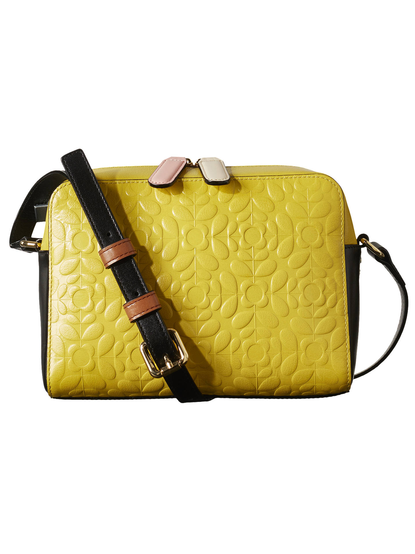 4abce570e29 Buy Orla Kiely Flower Stem Abby Leather Cross Body Bag, Yellow Online at  johnlewis.