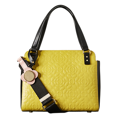 Orla Kiely Flower Stem Jeanette Leather Grab Bag, Yellow