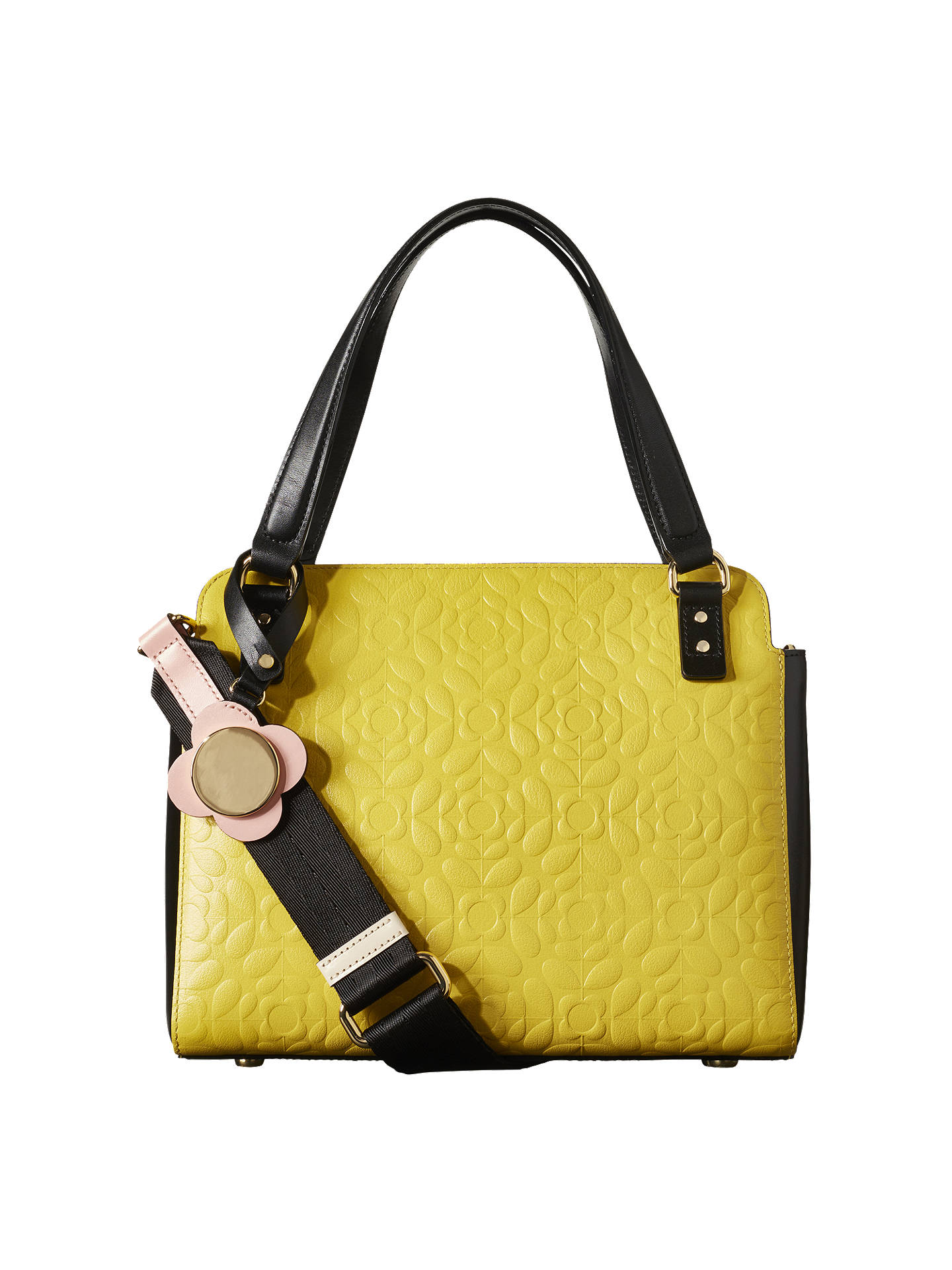 Orla Kiely Flower Stem Jeanette Leather Grab Bag Yellow At