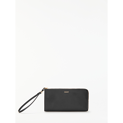 DKNY Bryant Park Medium Leather Wristlet Purse, Black