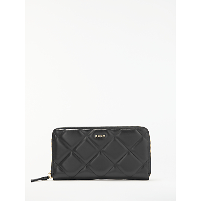 DKNY Barbara Quilted Large Leather Zip Around Purse, Black