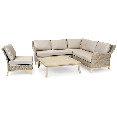 KETTLER Cora 5 Seater Table and Chairs Lounging Corner Set, FSC-Certified (Acacia Wood), Whitewash