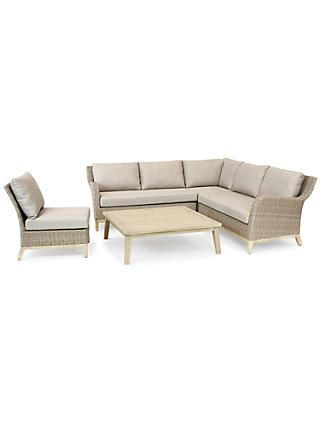 KETTLER Cora 5 Seater Garden Table and Chairs Lounging Corner Set, FSC-Certified (Acacia Wood), Smoke White