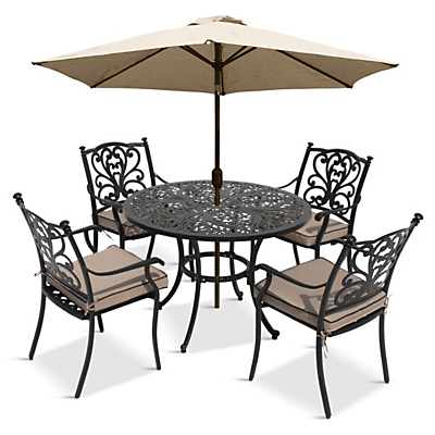 LG Outdoor Devon 4 Seater Dining Table and Chairs Set with Parasol, Bronze