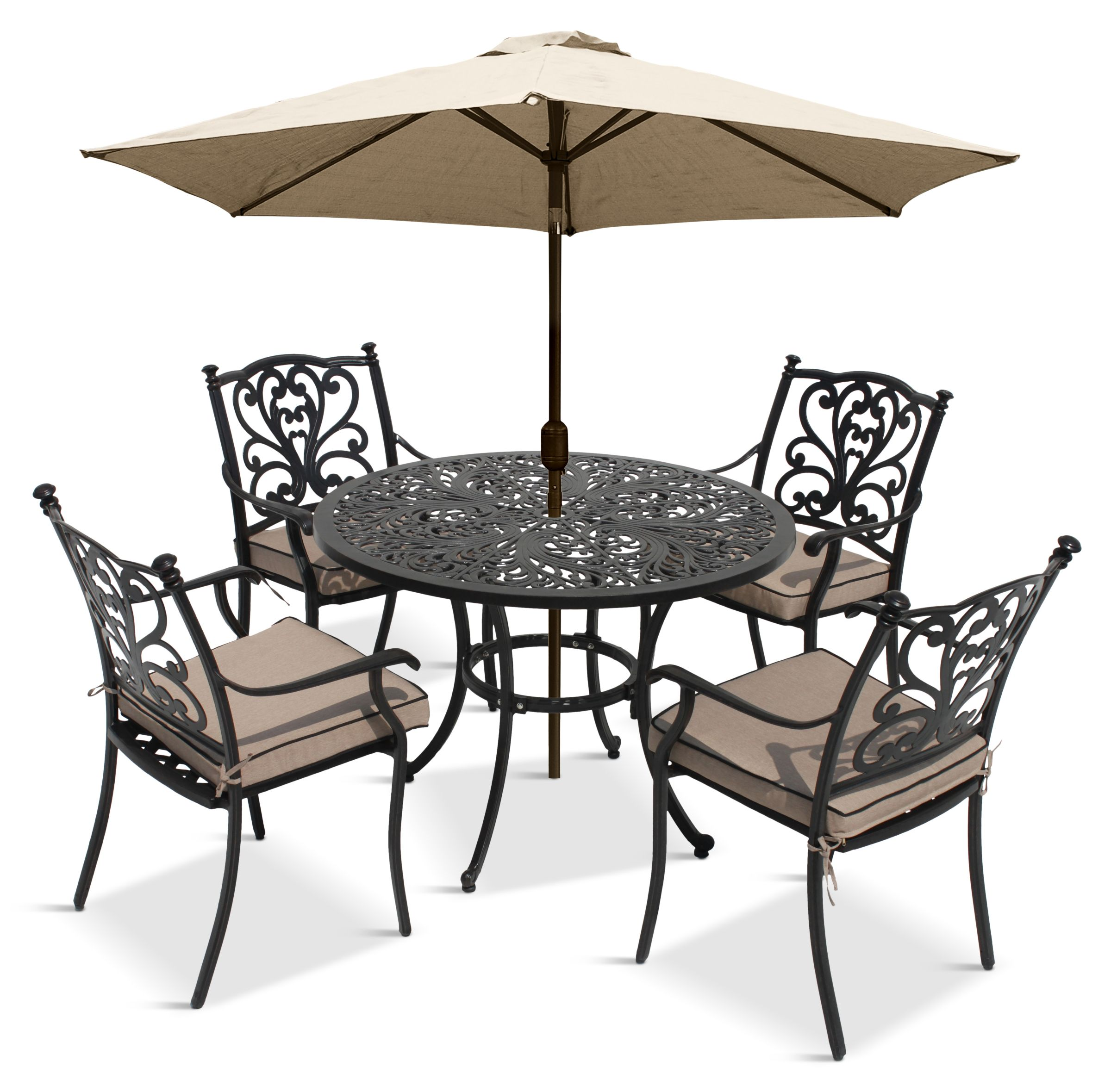 LG Outdoor LG Outdoor Devon 4 Seater Garden Dining Table and Chairs Set with Parasol, Bronze