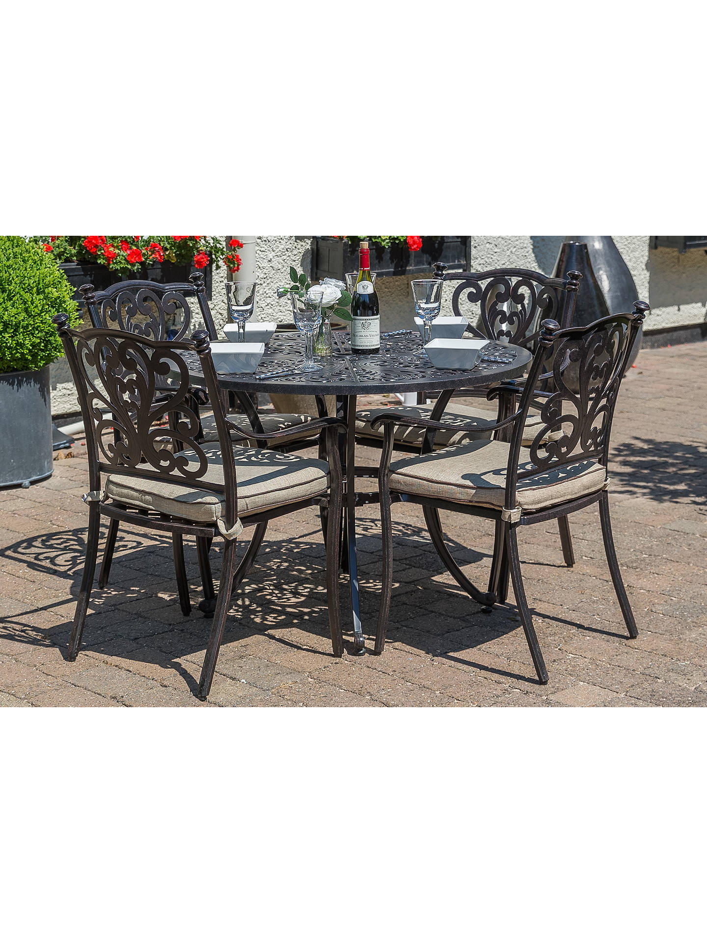 Buy LG Outdoor Devon 4 Seater Garden Dining Table and Chairs Set with Parasol, Bronze Online at johnlewis.com