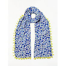 Buy Boden Pom Pom Linen Cotton Blend Floral Scarf, Blue Mix Online at johnlewis.com