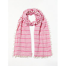 Buy Boden Pom Pom Linen Cotton Blend Stripe Scarf, Party Pink Online at johnlewis.com
