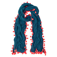 Buy Boden Pom Pom Linen Cotton Blend Scarf, Rainforest/Coral Online at johnlewis.com