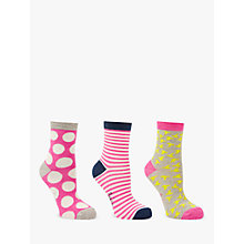 Buy Boden Spot Stripe and Bird Print Ankle Socks, Pack of 3 Online at johnlewis.com