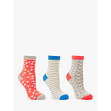 Buy Boden Bird Stripe and Glasses Pattern Ankle Socks, Pack of 3, Multi Online at johnlewis.com