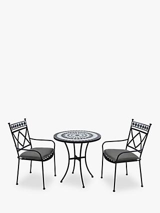 LG Outdoor Casablanca 2 Seater Garden Bistro Table and Chairs Set, Charcoal