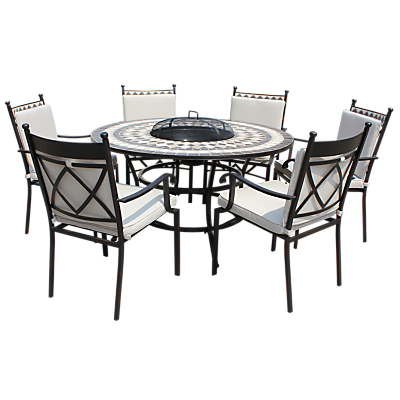 LG Outdoor Casablanca 6 Seater Outdoor Round Table Dining Set with Firepit, Charcoal