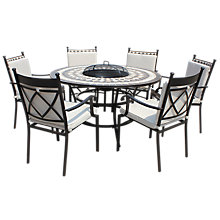 Buy LG Outdoor Casablanca 6 Seater Outdoor Round Table Dining Set with Firepit, Charcoal Online at johnlewis.com