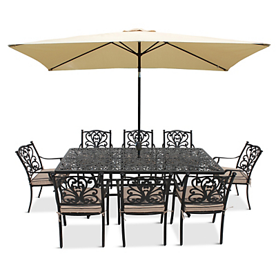 LG Outdoor Devon 8 Seater Dining Table and Chairs Set with Parasol, Bronze