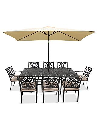 LG Outdoor Devon 8 Seater Garden Dining Table and Chairs Set with Parasol, Bronze