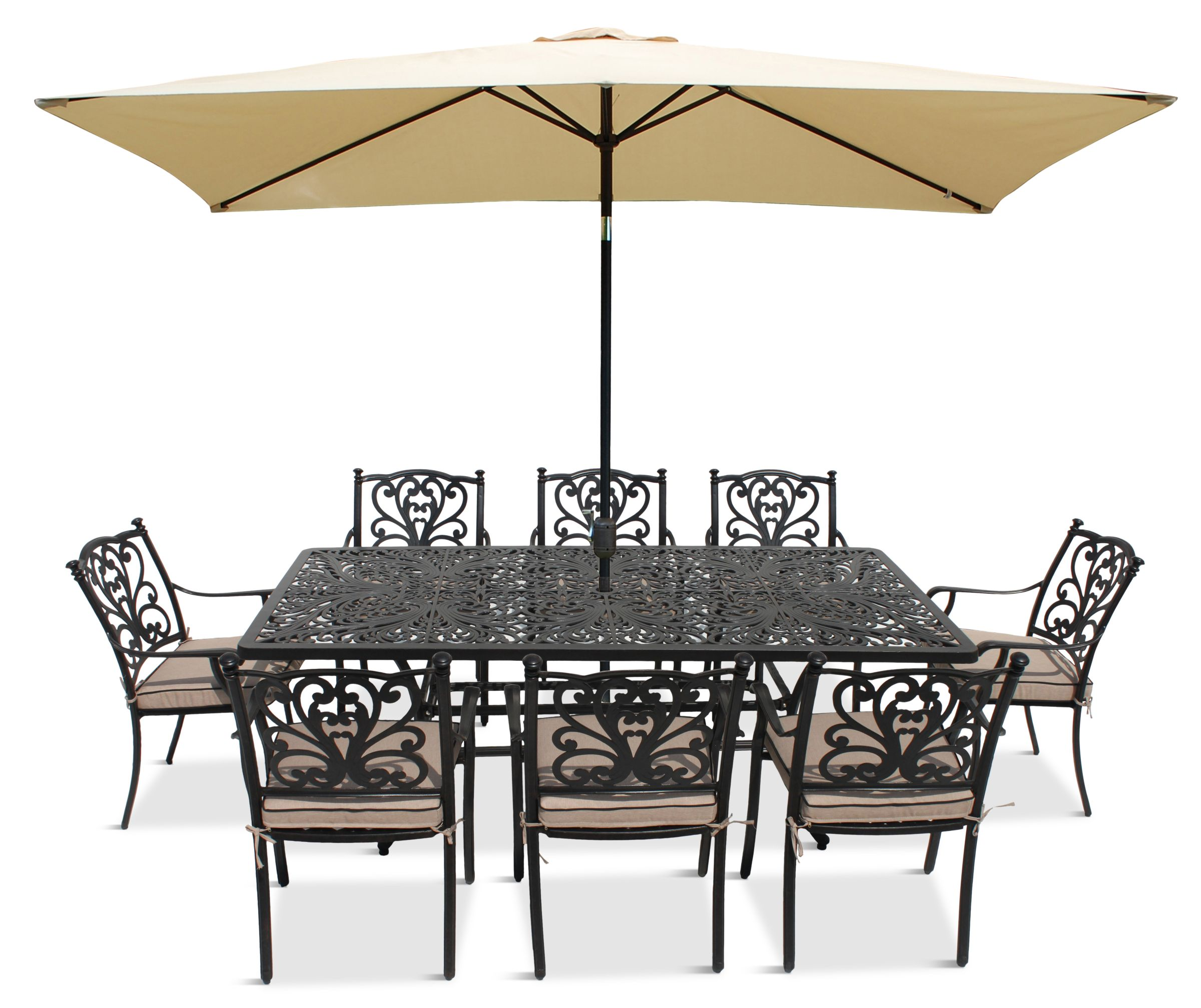 LG Outdoor LG Outdoor Devon 8 Seater Garden Dining Table and Chairs Set with Parasol, Bronze